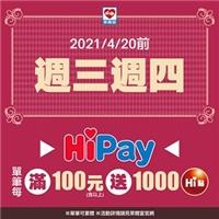 週三週四拿出手機刷HiPay,單筆消費每滿100元送1000 Hi點