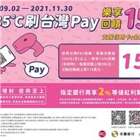 持台灣PAY消費,單筆消費滿100(含)元以上,回饋15%