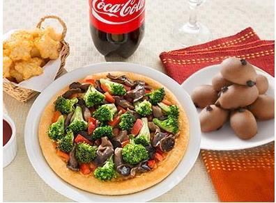必勝客398樂活蔬食套餐,小比薩限定點心沙拉類麻糬QQ球可樂