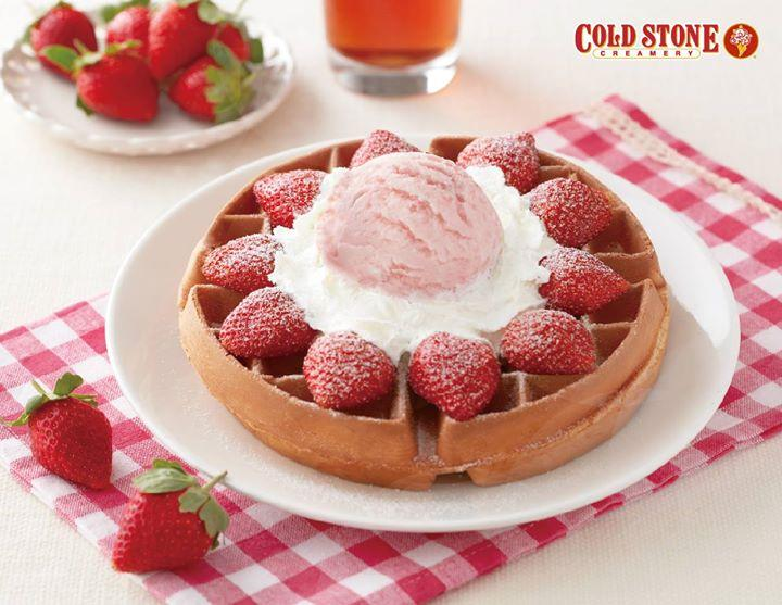 酷聖石冰淇淋,點購草莓優格冰淇淋鬆餅加飲料四選一限時享優惠價
