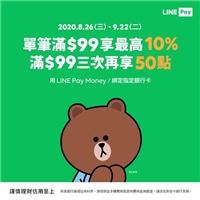 選用LINE Pay Money或綁定指定銀行卡,單筆滿$99享最高10%回饋