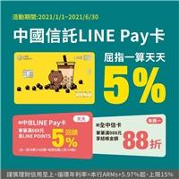 天天刷中信LINE Pay卡滿$688筆筆回饋LINE POINTS 5%