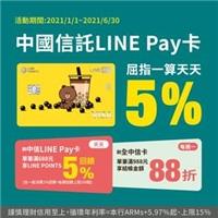 天天刷中信LINE Pay卡滿$688,筆筆回饋LINE POINTS 5%