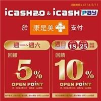 使用icash2.0 & icash pay 天天都是回饋日,每卡每戶上限200點