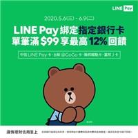使用LINEPay綁定指定銀行卡,單筆消費滿99,最高享12%回饋